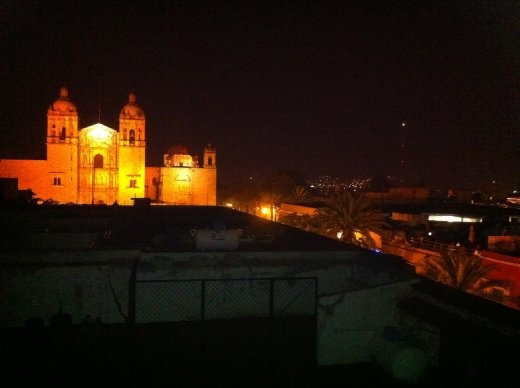 View of Santo Domingo from a lovely rooftop Italian restaurant. Aren't the fireworks amazing?