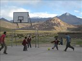 Tom and Niv playing soccer at 13,000 feet. The little kids won  despite only coming up to Niv's waist. This is where we spent our first night. : by alpiner84, Views[408]