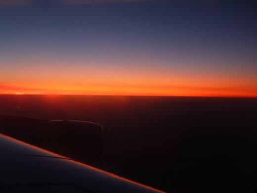 pre-sunrise, in flight