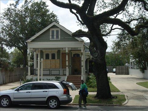 New Orleans - houses still boarded up from Hurricane Gustav - USA 2008