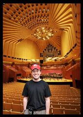 This one is actually great as you can see the inside of the concert hall. The Sydney Opera House Grand Organ at the back is the world's largest mechanical pipe organ, 138 pipes visible, 10,000 hidden in behind. It took 2 years just to tune all the pipes after it was installed. This is where we saw the orchestra rehearsing. Everything you see, the angles and shapes of the ceiling, walls, me and the seats are all acoustically designed.: by flyted, Views[200]