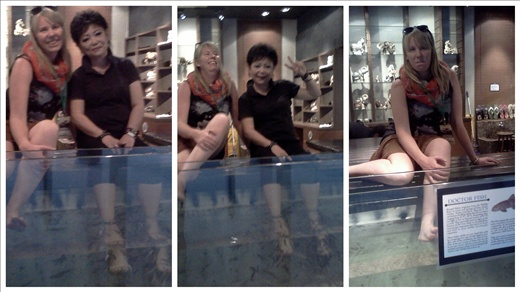 Nancy, me and all the fish. I am obviously the one with feet mostly out of the water.