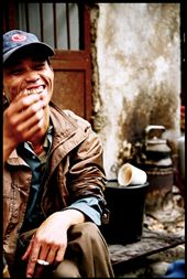 Irrespective of language barriers, a man shares coffee & a laugh on side of road: by here_and_now, Views[91]