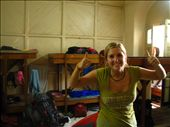 Micaela in our dorm room at the Salvation Army hostel in Mumbai...: by jessica, Views[531]