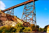 I've found an amazing Old Railroad Bridge located 15 or 20 meters over the street, in a place called Live Oak Springs, San Diego county, California (U.S.A.). This bridge is built on the rocks like the size of a 10 floor building. : by juanadreangonzalez, Views[183]