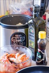 All the ingredients: Olive oil, Sesame oil, Rice, and Kimchi: by kimcheeses, Views[26]