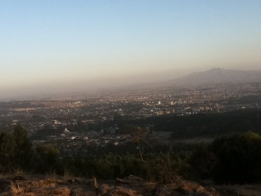 View of Addis Ababa from the top of one of the surrounding hills