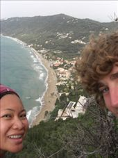 From the top of our walk/hike/climb up that friggin huge mountain!  That is the Cofu coast: by larasumera, Views[135]