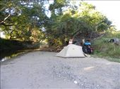Camping at the river, before the