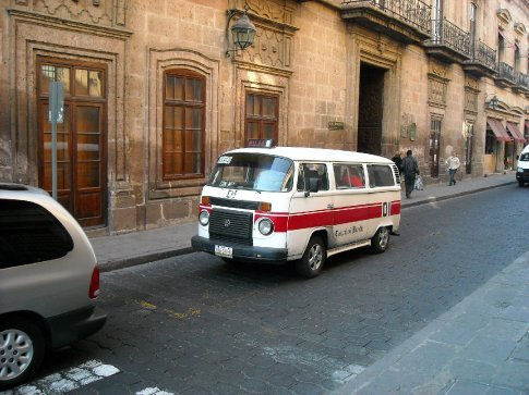 We got a ride from the bus station to the zocalo in one of these 'shared' taxis. The door was so small we had to crawl in and took up heaps of room with our packs.