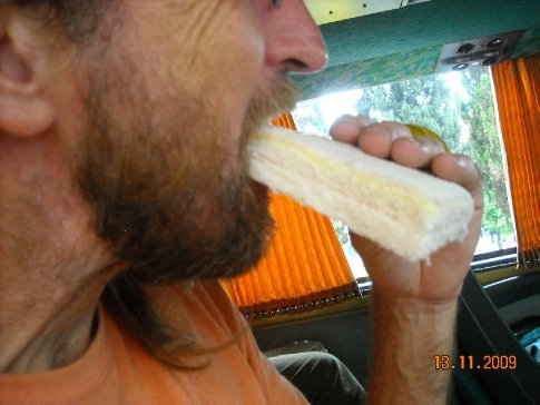 this time on the bus we got served sandwiches