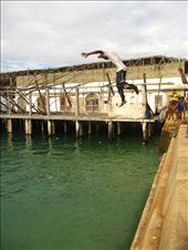Stonetown is full of activity, but the humidity coupled with the fierce African sun makes too much walking around exhausting. In order to cool off and have some fun, local boys constantly hold jumping contests for hours off the quay.: by olie, Views[63]