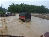Half-missing floodway, Mahendra Highway, 60km west of Kohalpur. The first truck to try and cross.: by over-40, Views[1794]