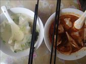 Wonton noodle soup plain on the left and with chili and vinegar on the right: by piglet, Views[154]