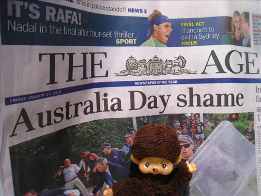 What I learned from that day's paper: Australia really dislikes its PM Julia Gillard, and on Australia Day she almost got mobbed at some event.