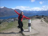 Top of the World Ma! Kate celebrates at the summit of our first mountain climb - Mount Iron in Wanaka.: by seilerworldtour, Views[97]