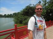 Crossing the Huc Bridge to get to Jade Island in the middle of Hoan Kiem Lake: by sglass, Views[38]