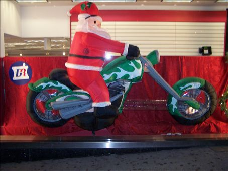 Santa riding a Harley