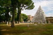The Pyramid of Cestius rises above the older, more sparse half of the cemetery.: by signejb, Views[226]