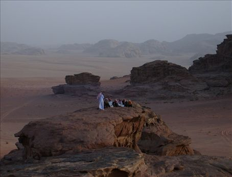 Bedouin village men gather at sunset. Talk about amazing.