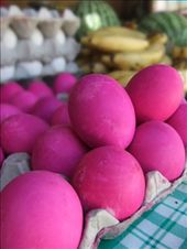 Pink eggs! Does that mean there are pink hens? The choice in the local Sabang shops was not great!: by steve_and_emma, Views[202]