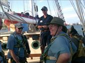 In the center is Stan, after he helped Kent get into his harness for the climb up the mast!: by taylortreks, Views[18]