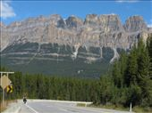 Anna on the road into Kootenay NP, Castle Mountain looms large in the background. Back on the road from Banff and back to blue skies!: by thefuegoproject, Views[191]