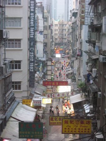 Upper view of a Hong Kong street