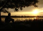 Cathy watching the sunset over the Mekong river.: by thibaut, Views[130]