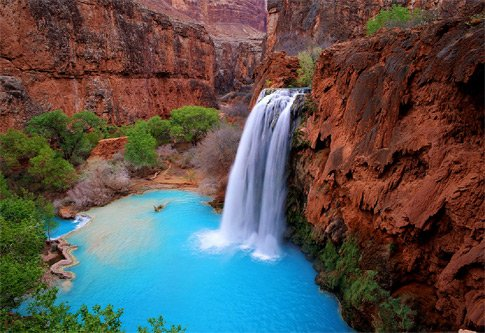 Is this paradise?  Nope, just a hot 8mile hike in the desert to Havasu Falls, Arizona
