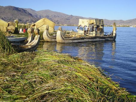 The reed islands and boats of Lake Titicaca.