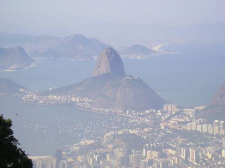 Looking down on the Sugar loaf and the center of the city.