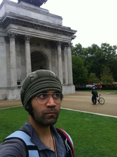 Me being sober and unshaven in front of the stone thingy.