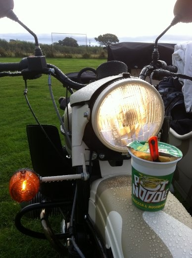 Pot noodle, heating it up with the powerful headlight. It didn't work but I et it anyway.