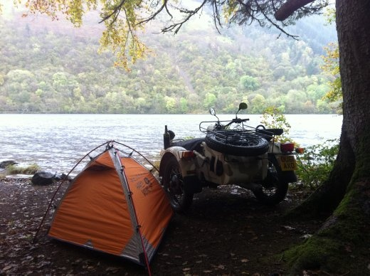 My campsite for the night, two meters from the lakes edge with my bike facing the Loch so's I can use the sidecar spotlight to find the monster. Or uni students skinny-dipping.